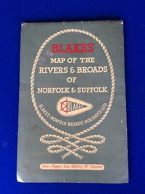 Blakes - Map of the Rivers & Broads of Suffolk & Norfolk - 1950s