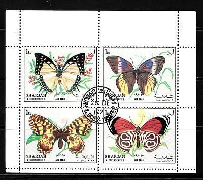 Sharjah..fantastic..se-Tenant Block Of 4 Stamps Portraying Butterflies..80430