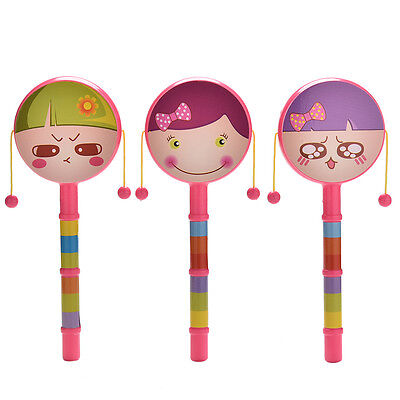 Rattle Drum Smile Baby Kid Percussion Educational Musical Instrument Toy TO