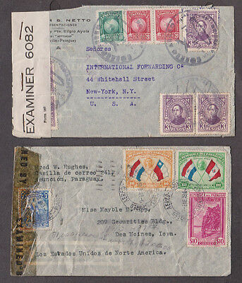 Paraguay -1940's Three censored covers mailed to USA