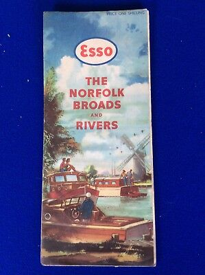 The Esso - Map of the Norfolk Broads & Rivers - 1950s