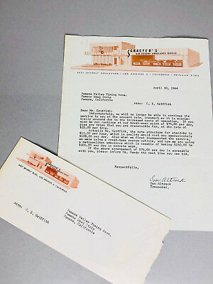 1964 POMONA VALLEY TIMING ASS LETTER Chuck Griffith VINTAGE DRAG RACING DRAGSTER