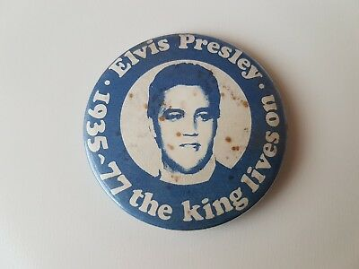 Elvis Presley Vintage Button Badge The King Lives On Rock And Roll Rockabilly