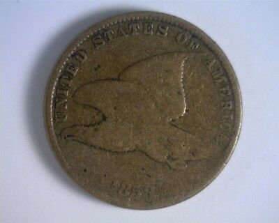 1858 Small Letter Flying Eagle Cent - GOOD sharpness; a few old marks