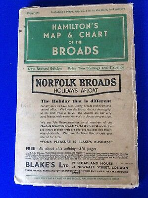 Hamiltons - Map and Chart of the Norfolk Broads - 1930/40s - Rare