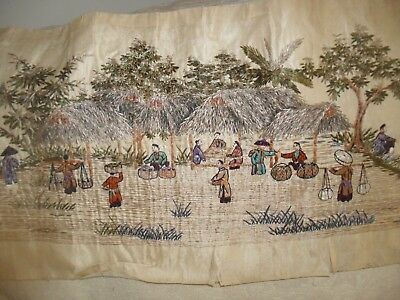"Superb Early Antique Silk Chinese Hand Embroidered 66"" Long Panel"