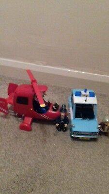 Postman Pat Talking Helicopter And Police Car With Figures (Rare)