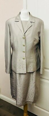 Windsmoor beautiful 100%silk formal occasion dress embellished suit BNWT uk14
