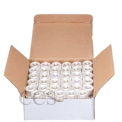 120 WHITE Plastic Prewound Bobbins for Brother Embroidery Machine Size A 156