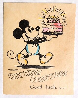 P070 Vintage: Disney Enterprises MICKEY MOUSE BIRTHDAY CARD Hall Brothers 1930s[
