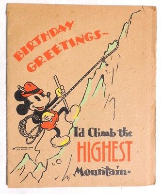 P066. Vintage: Disney Enterprises MICKEY MOUSE BIRTHDAY CARD Hall Brothers 1935[