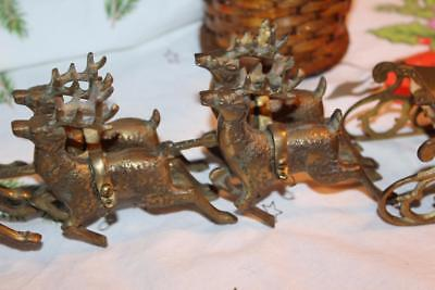 Antique Vintage Christmas Decoration Display Brass Hand Tooled Reindeer Sleigh