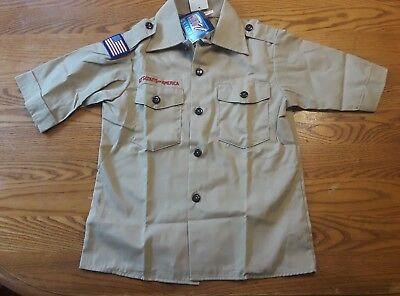 Tan Boy Scout Shirt / Webelos or Scout Short Sleeved Shirt NWT Youth Small