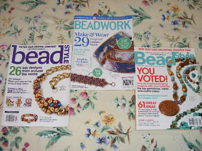 Lot of Three (3) ~ Beadwork and Bead Style Jewelry Magazines