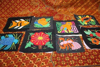 Lot 8 Vtg Hand Embroidered Applique Panama Mola Quilt Blocks Fish Birds Flowers