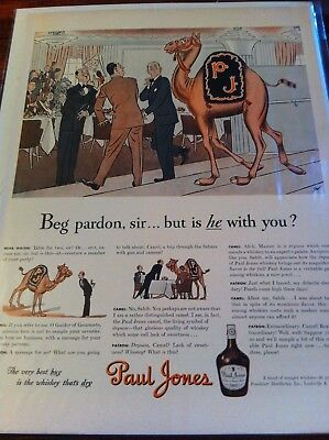 Vintage 1942 Paul Jones Whiskey Paul Jones Camel At Restaurant Print Art ad