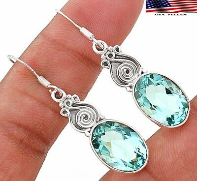 "12CT Aquamarine 925 Solid Sterling Silver Earrings Jewelry 1 3/4"" Long"