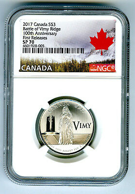 2017 $3 Canada Silver Ngc Sp70 100Th Anniv Battle Of Vimy Ridge First Releases