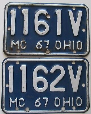 Ohio 1967 CONSECUTIVE NUMBER MOTORCYCLE License Plates NICE # 1161V & # 1162V