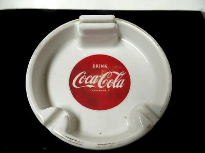 Vintage Coca Cola Heavy Porcelain Ashtray With Match Box Holder