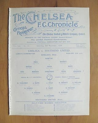 CHELSEA v SOUTHEND UNITED Reserves 1924/1925 (8th November) Exc Cond Programme