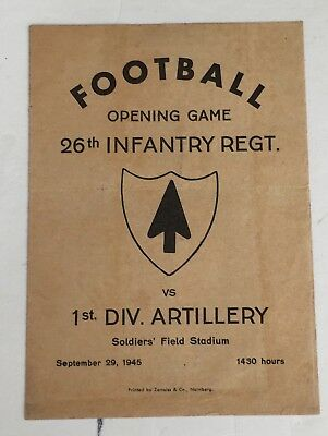 Football Program 26th Inf. Regt. Vs 1st Div. Artillery Sept. 1945