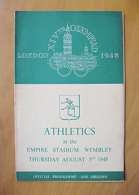 1948 London Olympics Athletics Programme 5th August Inc Decathlon & 400m