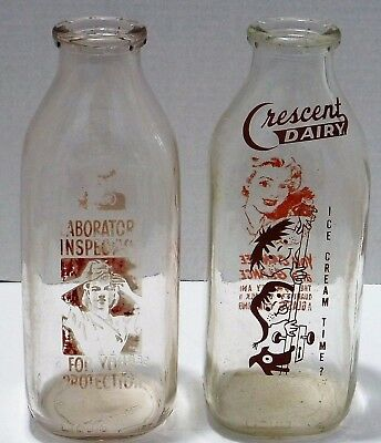 Vintage Milk Bottles:  Two Milk Bottles