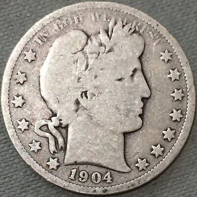 1904 O U.S. Barber Half Dollar Silver Coin New Orleans