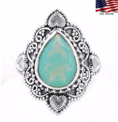 4CT Blue Fire Opalite 925 Solid Genuine Sterling Silver Ring Jewelry Sz 7.75