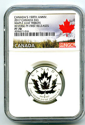 2017 $3 Canada 1/4 Oz 150Th Silver Maple Leaf Ngc Pf70 Reverse Proof Fr Pop 10