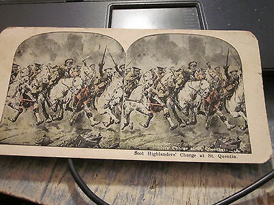 Stereoview  Scot Highlanders Charge at St Quentin