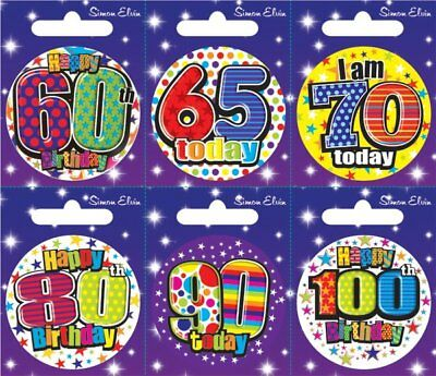 Party Badge 6 Card Happy Birthday 60/65/70/80
