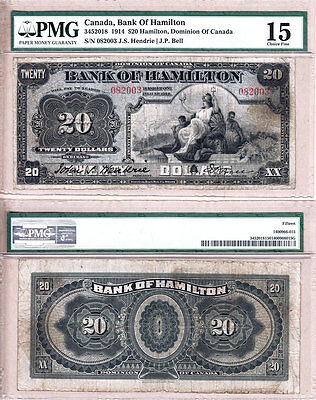 Very Scarce Bank of Hamilton 1914 $20 Large Size Chartered Bank Issue PMG CH F15