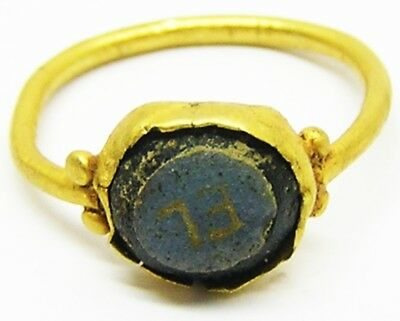 Nice Ancient Roman Gold Intaglio Ring Nicolo Glass EL c. 2nd - 3rd century A.D.