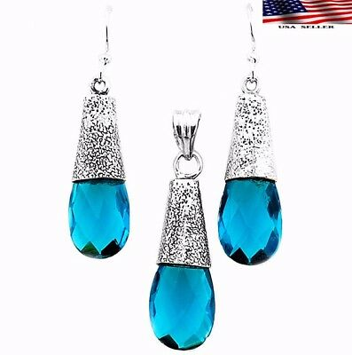 26CT Flawless Blue Topaz 925 Solid Sterling Silver Earrings Pendant Jewelry Set