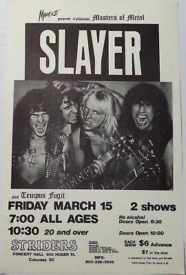 SLAYER Vintage Gig Poster March 15 1985 Striders Columbia SC unused original