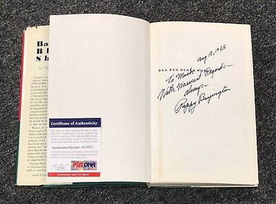 Pappy Boyington Signed BAA BAA BLACK SHEEP Hardcover Book PSA/DNA COA Autograph
