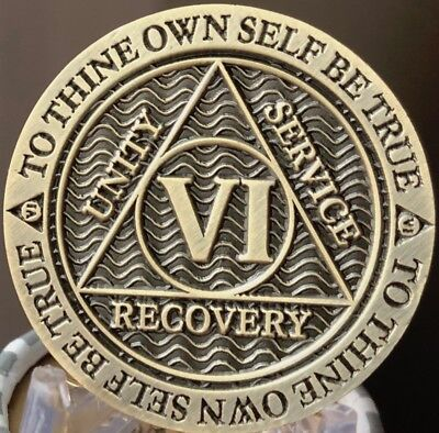 6 Year AA Medallion Reflex Antique Chocolate Bronze Sobriety Chip Coin