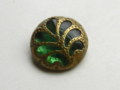 Beautiful Antique Waistcoat Button Green Glass with Brass Open Work Overlay