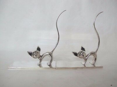Wonderful Pair Of Matching Art Deco French Silver On Bronze Pussy Cat Book Ends
