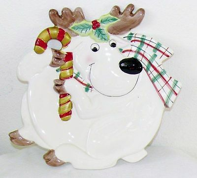 """Vintage Fitz & Floyd Christmas Reindeer Canape Plate Cookies Candy Tray 10"""" Cute"""