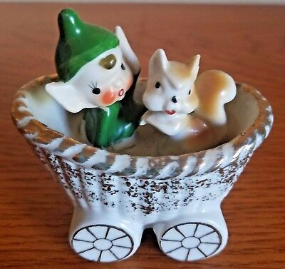 Vintage Pixie Elf In A Carriage With A Squirrel Made In Japan