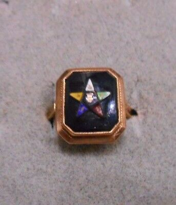 Vintage/ Antique Women's OES Eastern Star 10K Gold /Onyx Ring.