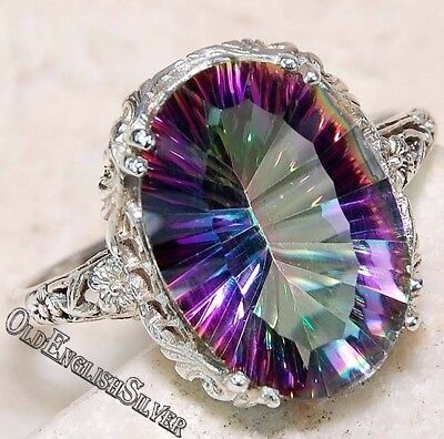 5CT Color Changing Rainbow Topaz 925 Sterling Silver Filigree Ring jewelry Sz 7