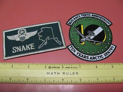 """Older Usaf 962Nd Aacs 10Th Anniversary Patch W/ Name Tag """"arctic Sentry"""" ~Nice~"""