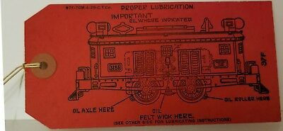 American Flyer 3185 Paper Red Tag Instructions Locomotive Lubrication  1928
