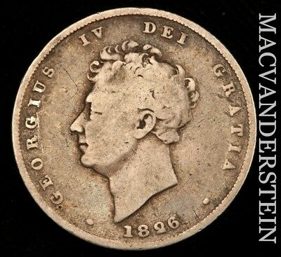 Great Britain: 1826 One Shilling- Scarce !! Better Date !!  #w179