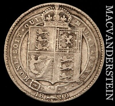 Great Britain: 1890 One Shilling- Scarce !! Better Date !!  #w180