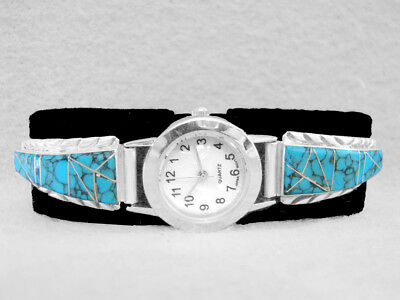 Navajo Watch Turquoise Sterling Silver Native American Indian Inlay